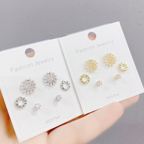 Sterling Silver Needle Stud Earrings Micro-Inlaid Crystal Earrings Three Pairs Set All-Match Simple Earrings