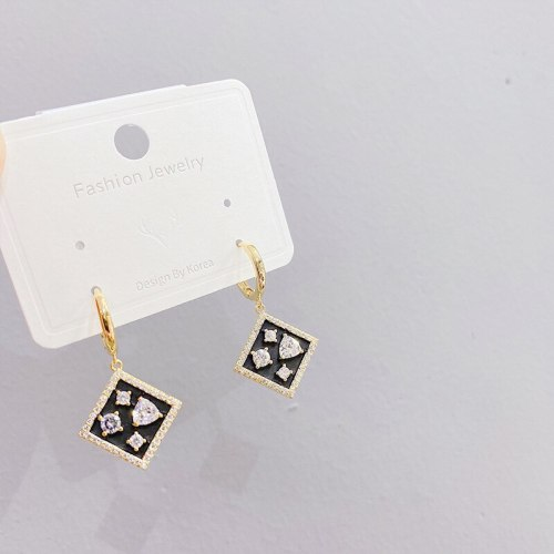 Korean Fashion Real Gold Ear Clip Women's Micro-Inlaid 3A Zircon Earrings Rhombus Personalized Ear Studs