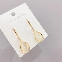 Sterling Silver Needle Three-Dimensional Geometric Opal Rhinestone Earrings Korean Temperament Ear Studs Simple Earrings