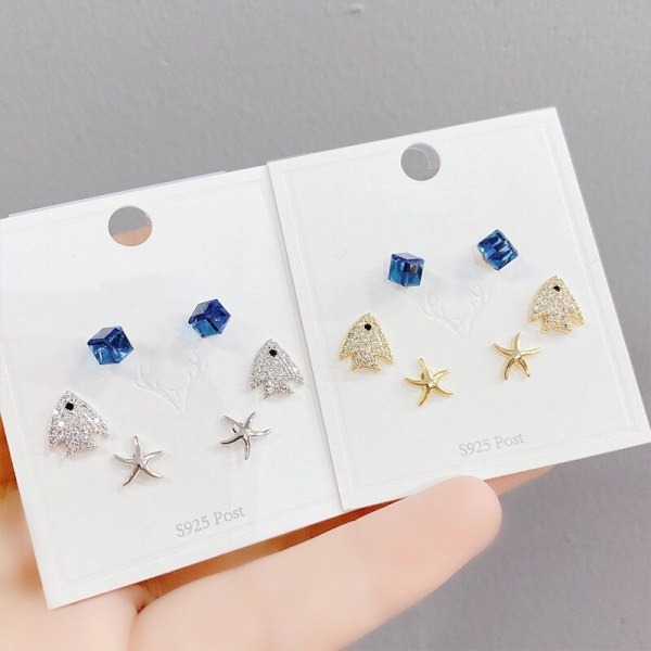 Korean Earrings Women's Trendy Sterling Silver Needle Earrings with Diamonds round Studs Three Pairs Set of Ornaments