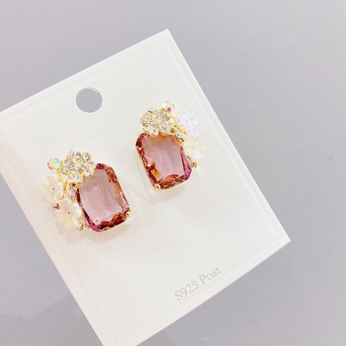 Simple Diamond round Crystal Zircon Stud Earrings 925 Silver Needle Anti-Allergy Personalized Earrings