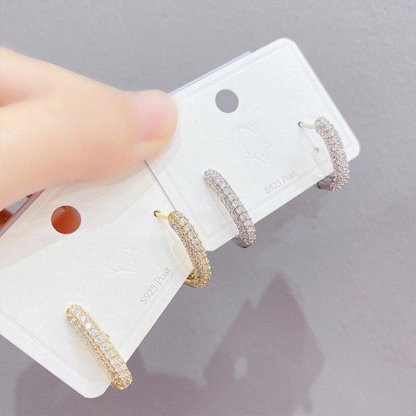Korean Style Fashionable Exaggerated Diamond Rectangular Earrings All-Match Earrings Long Full-Jeweled Stud Earrings Women