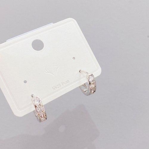 Korean Style Sterling Silver Needle Women's Ins Style Simple Ear Clip Personality Fine Zircon-Embedded Earrings Earrings