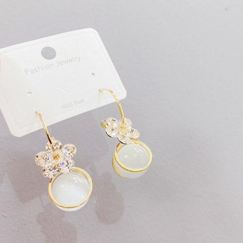 Sterling Silver Needle Trendy Red Five Petal Flower Opal Earrings All-Matching Petal Eardrops Earrings Ear Hook Women