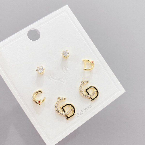 Micro Inlaid Zircon Letters Sterling Silver Needle Stud Earrings Small Personality One Card Three Pairs Combination Earrings