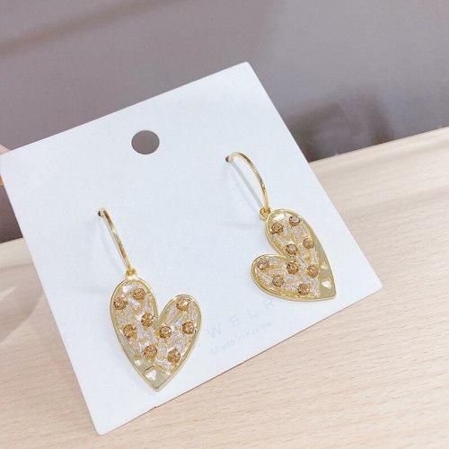 Sterling Silver Needle Creative Heart-Shaped Zircon Stud Earrings Simple Korean Versatile Peach Heart Eardrops Earrings