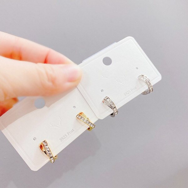 European and American Hot Ear Clip Internet Influencer Earrings C- Shaped Diamond Copper Micro Inlay Ear Studs Ornament