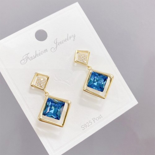 Trendy Earrings Sterling Silver Needle Earrings Long Personalized Diamond Versatile European and American High-Profile Earrings