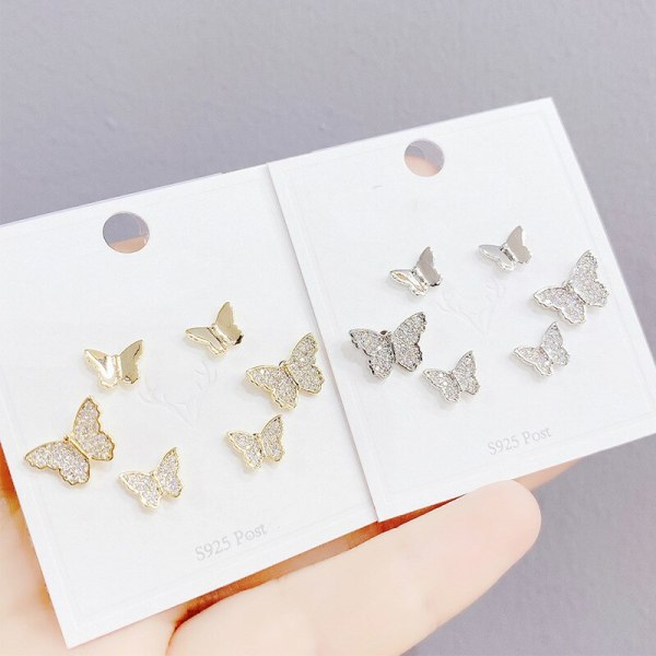 Butterfly Micro Inlaid Zircon Sterling Silver Needle Stud Earrings Cute and Compact Full Diamond Fresh Earrings Female
