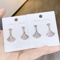 Fan-Shaped Small Skirt Ear Stud Earring 925 Silver Needle Tide Earrings Jewelry Female