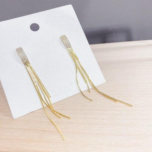 Sterling Silver Needle Micro Inlaid Zircon Tassel Earrings Women's Long Earrings Electroplated 14K Earrings