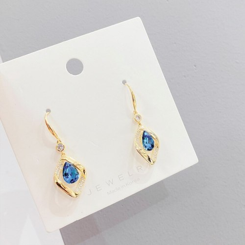 Korean Fashion Hollowed-out Geometric Blue Crystal Earrings Sterling Silver Needle Personality Stud Earrings for Women