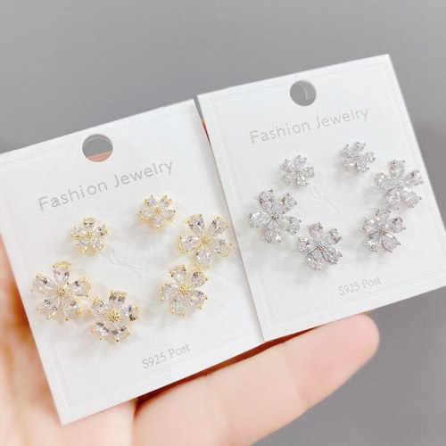 Sterling Silver Needle Micro Inlaid Zircon Petal Three-Piece Earrings Personality One Card Three Pairs Combination Earrings