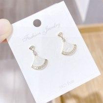 Sterling Silver Needle Fairy Temperamental Internet Celebrity All-Match White Shell Fan Skirt Earrings Eardrops