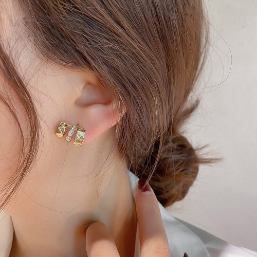 Sterling Silver Needle Fashion Silver Pin Earrings Exquisite Glossy Geometric Temperament Wild Ear Stud Earring Women