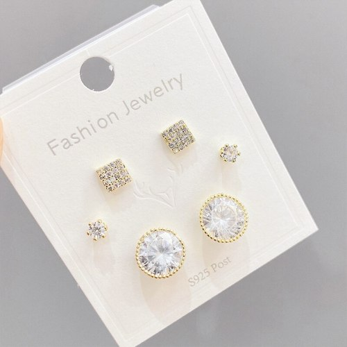 Micro Inlaid Zircon S925 Silver Needle 3 Pcs/set Stud Earrings Small Personality Combination Earrings Female Jewelry