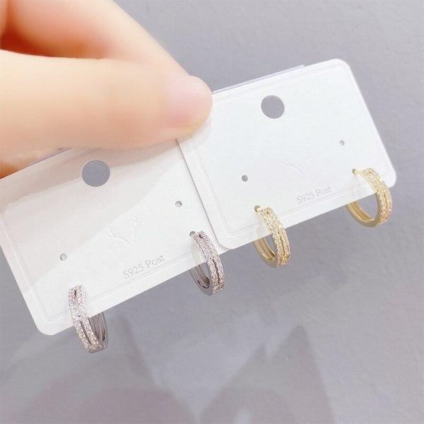 Sterling Silver Needle Korean Style Sparkling Full Rhinestone Pairs round Ring Earrings All-Match Temperamental Stud Earrings
