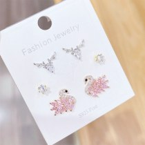 Sterling Silver Needle Stud Earrings Women's Simple Fashionable Temperamental All-Match 3 Pairs Set Combination Jewelry