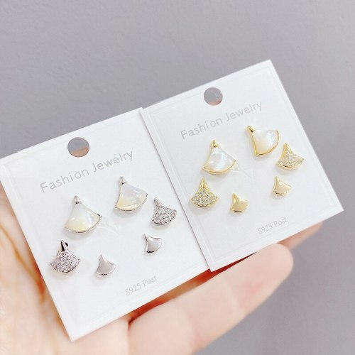 Sterling Silver Needle Micro Inlaid Zircon Skirt Three-Piece Earrings Personality One Card Three Pairs Combination Earrings