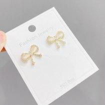 S925 Silver Needle Bow Stud Earrings Female Korean Style Super Flash Inlaid Full Diamond Temperament Girl Heart Ear Rings