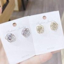 Sterling Silver Needle Flower Stud Earrings Simple Hollow Rose Flower Compact Temperamental Ear Rings Female Stud Earrings