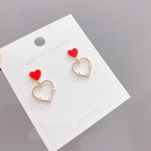 Sterling Silver Needle Stud Earrings Temperament Heart-Shaped Ear Studs Korean Fashion Peach Heart Stud Earring Women