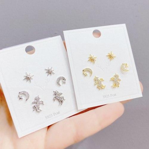 Korean Multi-Pair Set Earrings Sterling Silver Needle Elegant Earrings Unicorn Three Pairs Zircon Earrings Gold Plated