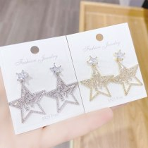 Sterling Silver Needle Elegant Simple Earrings Personality Pentagram Zircon Earrings Fashionable and Versatile Earrings