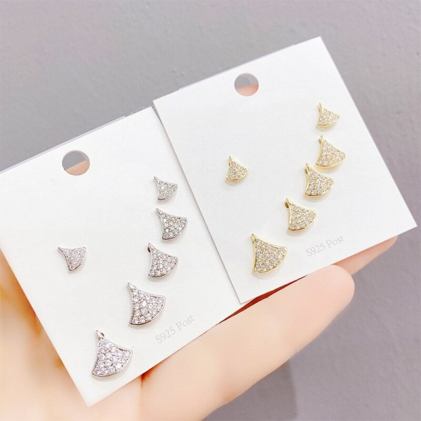 Sterling Silver Needle Skirt Earrings Female Korean Personality All-Matching Graceful Simple Fan-Shaped Diamond Earrings
