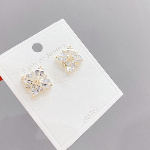 Korean Fashion Crystal Zircon Petal Earrings New Trendy Graceful Online Influencer Sterling Silver Needle Stud Earrings