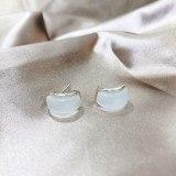 Opal Stone Ear Studs Temperament Personality Silver Pin Earrings Internet Celebrity Cold Style Earrings Female