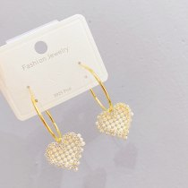 Sterling Silver Needle Creative Heart-Shaped Zircon Stud Earrings Simple Korean Fashion All-Match Ornament