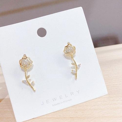 Korean Dignified Hollow Rose Earrings All-Match Sterling Silver Needle Eardrops Earrings Fashion Earrings for Women