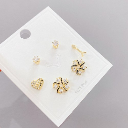 Micro Inlaid Zircon Petal Three-Piece Earrings Personality One Card Three Pairs Combination Sterling Silver Needle Earrings