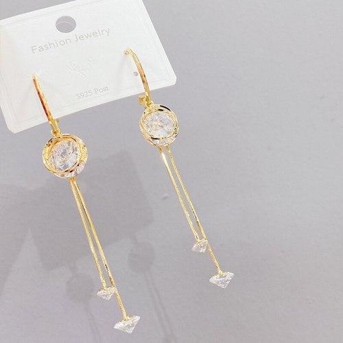 Korean Sterling Silver Needle Tassel Long Earrings Versatile Personality Eardrops Simple Stud Earrings