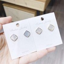 Sterling Silver Needle Sea Shell Dreamy Geometric round Shell Eardrops Ear Studs Earrings Women