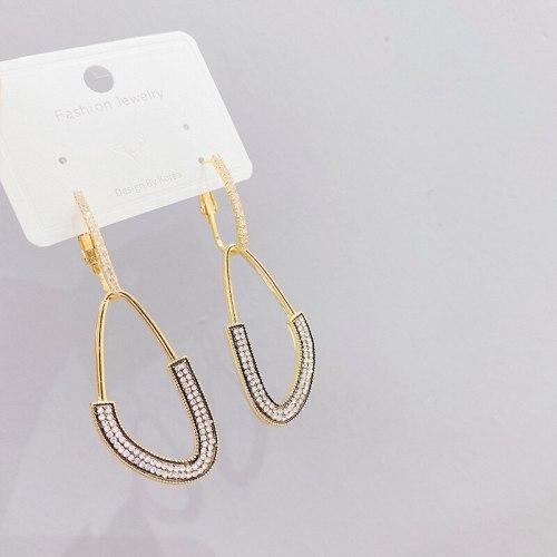 Sterling Silver Needle Micro Inlaid Zircon Water Drop Earrings European and American Earrings Personalized Long Ear Studs
