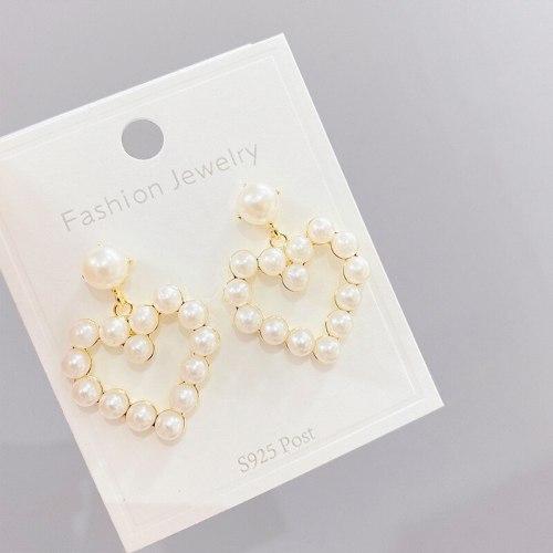 Sterling Silver Needle Korean Hollow Love Pearl Earrings Eardrops Peach Heart Stud Earring Earrings