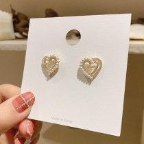 INS Love Stud Earrings Female S925 Silver Needle Pearl Full Diamond Peach Heart Earrings Jewelry