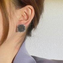Retro Square Micro Inlaid Zircon Stud Earrings Female S925 Silver Needle Earrings Jewelry