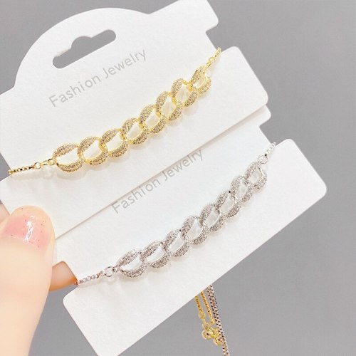 Hot Sale Copper Plating Real Gold Pull Bracelet Female European and American Fashion Micro Inlaid Zircon Bracelet Fashion