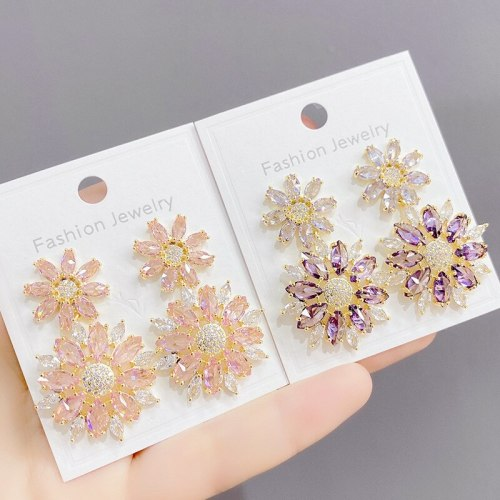 Sterling Silver Needle European and American Petals Inlaid Zircon Copper Light Luxury Gold Plated Shiny Ear Studs