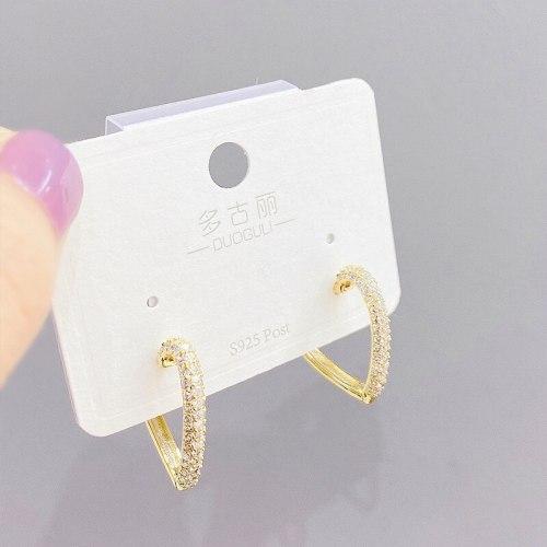 Korean Fashion Retro Golden Peach Heart Design Online Red Temperament New Studs Ear Clip Women
