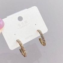 Sterling Silver Needle Retro Fashion Stud Earrings Women's C- Shaped Micro-Inlaid Full Diamond Earrings Gold-Plated Earrings