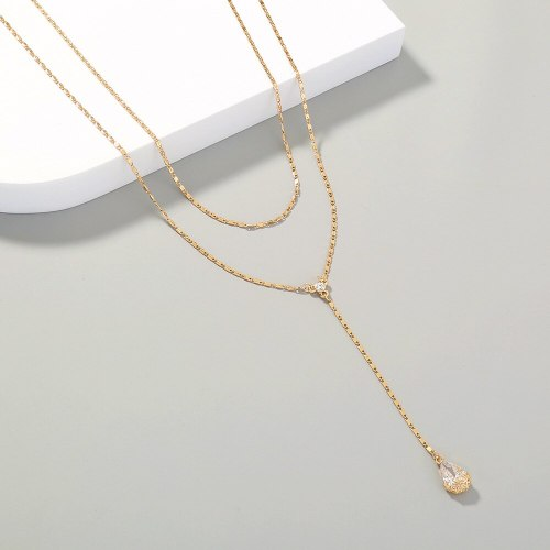 New Simple Water Drop Zircon Double-Layer Necklace Elegant Twin Clavicle Chain Pendant for Women