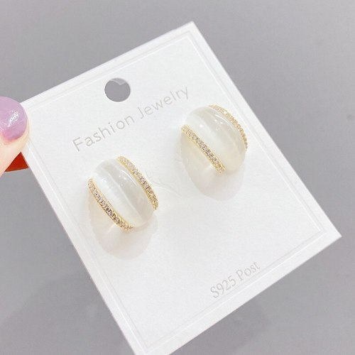 Sterling Silver Needle French Style Retro Cymophanite Stud Earrings Special-Interest Design Simple C- Shaped Earrings
