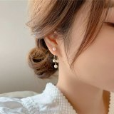 Sterling Silver Needle Personality Long Fringe Earrings Fashion Temperament Pearl Earrings Simple Ear Line Earrings