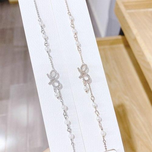 New Bracelet Women's Korean-Style Simple Double Layers Loving Heart Bow Bracelet Full Diamond Pearl Bracelet