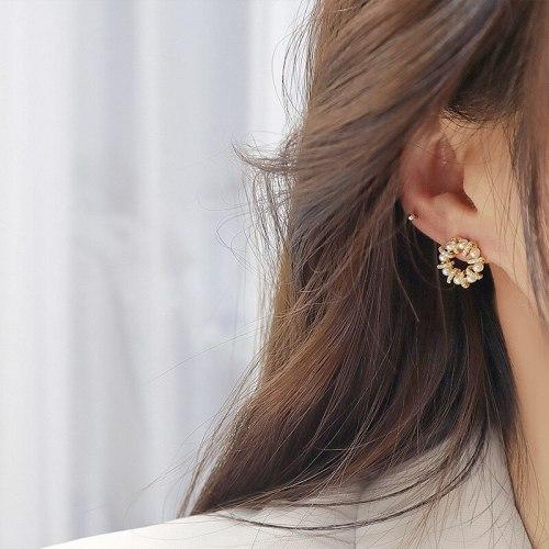Sterling Silver Needle Geometric Circle and Pearl Ear Studs Korean Earrings Personalized Micro-Inlaid Full Diamond Earrings