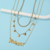 European and American Necklace Jewelry Fashion Multi-Layer Claw Chain Butterfly Tassel Necklace Letter Pendant Necklace